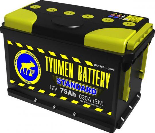 Автомобильный аккумулятор АКБ Тюмень (TYUMEN BATTERY) STANDARD 6CT-75L 75Aч П.П.