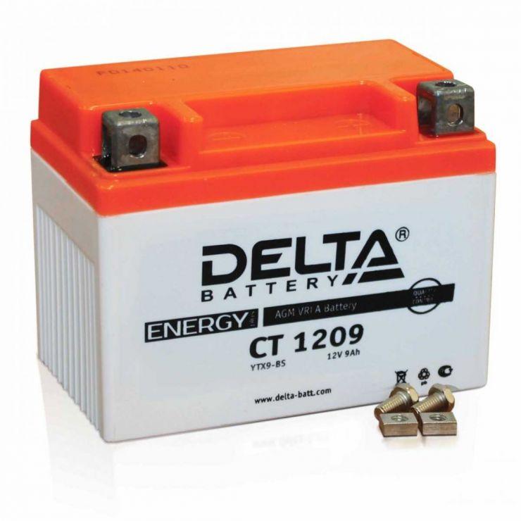 Мото аккумулятор АКБ Delta (Дельта) CT 1209 п.п YTX9-BS