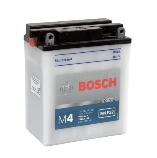 Мото аккумулятор АКБ BOSCH (БОШ) M4F 320 / M4 F32 moba  12V 512 013 012 A504 FP 12Ач о.п. (YB12AL-A, YB12AL-A2)