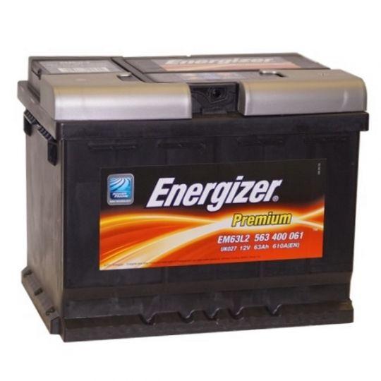 Автомобильный аккумулятор АКБ Energizer (Энерджайзер) PREMIUM EM63L2 563 400 061 63Ач о.п.