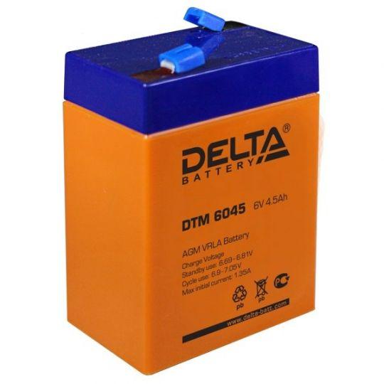Аккумулятор свинцово-кислотный АКБ DELTA (Дельта) DTM 6045 6 Вольт 4.5 Ач