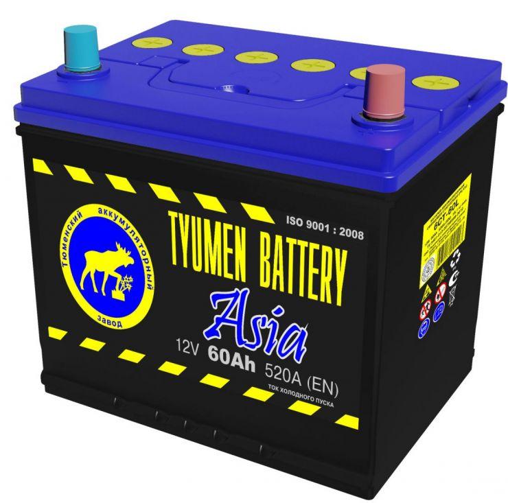 Автомобильный аккумулятор АКБ Тюмень (TYUMEN BATTERY) ASIA 6CT-60L 60Aч О.П. нижнее крепление