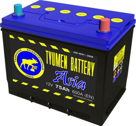 Автомобильный аккумулятор АКБ Тюмень (TYUMEN BATTERY) ASIA 6CT-75L 75Aч П.П. нижнее крепление