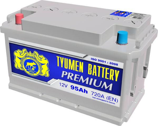 Автомобильный аккумулятор АКБ Тюмень Премиум (TYUMEN BATTERY) PREMIUM 6CT-95L 95Aч П.П