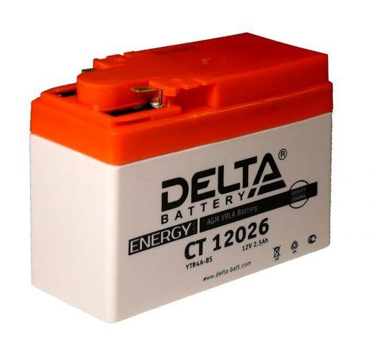 Мото аккумулятор АКБ Delta (Дельта) CT 12026 боковые клеммы YTR4A-BS