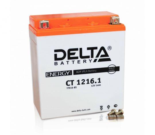Мото аккумулятор АКБ Delta (Дельта) CT 1216.1 п.п. YTX-16-BS, YB16-BA