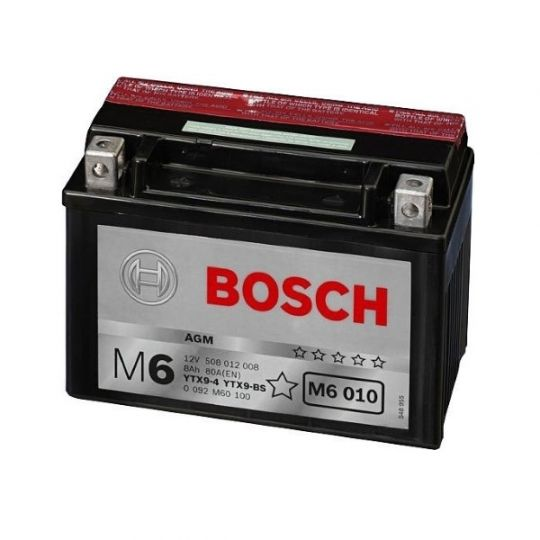 Мото аккумулятор АКБ BOSCH (БОШ) M60 100 / M6 010 moba 12V 508 012 008 A504 AGM 8Ач п.п. (YTX9-4, YTX9-BS)