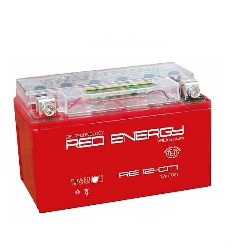 Аккумуляторная батарея АКБ RED ENERGY (РЭД ЭНЕРДЖИ) GEL RE 1207 YTX7A-BS 7Ач п.п.