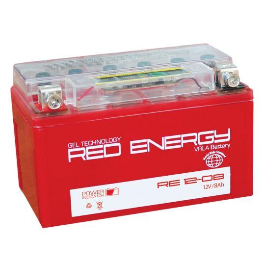 Аккумуляторная батарея АКБ RED ENERGY (РЭД ЭНЕРДЖИ) GEL RE 1208 YT7B-BS, YT7B-4 8Ач п.п.