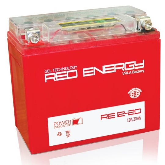 Аккумуляторная батарея АКБ RED ENERGY (РЭД ЭНЕРДЖИ) GEL RE 1220 Y50-N18L-A3, YTX24HL-BS, YTX24HL 20Ач о.п.