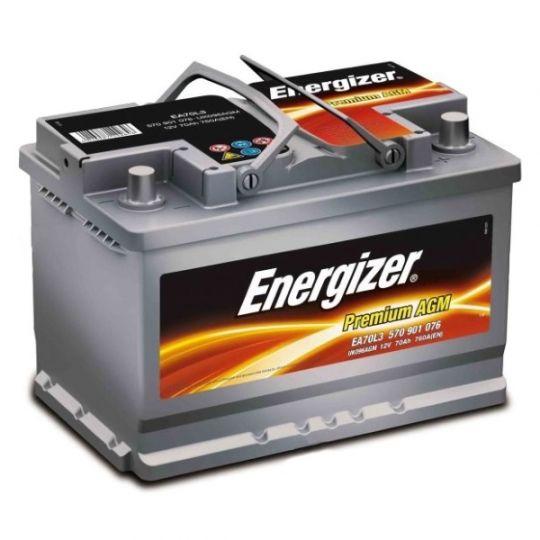 Автомобильный аккумулятор АКБ Energizer (Энерджайзер) PREMIUM AGM EA70L3 570 901 076 70Ач о.п.