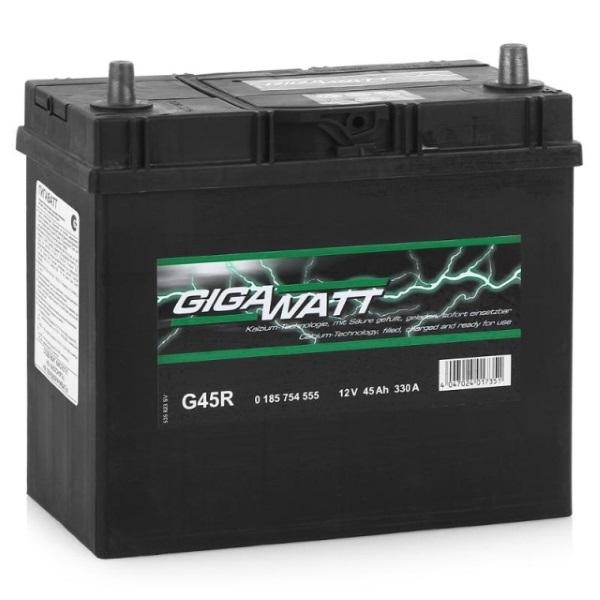 Автомобильный аккумулятор АКБ GigaWatt (Гигават) G45R 545 155 033 45Ач о.п.