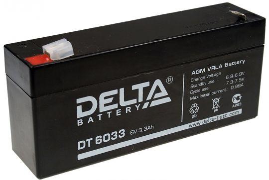 Аккумулятор свинцово-кислотный АКБ DELTA (Дельта) DT 6033 6 Вольт 3.3 Ач