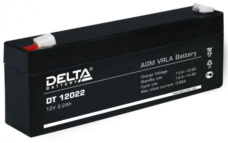 Аккумулятор свинцово-кислотный АКБ DELTA (Дельта) DT 12022 12 Вольт 2.2 Ач