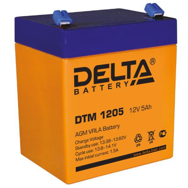 Аккумулятор свинцово-кислотный АКБ DELTA (Дельта) DTM 1205 12 Вольт 5 Ач