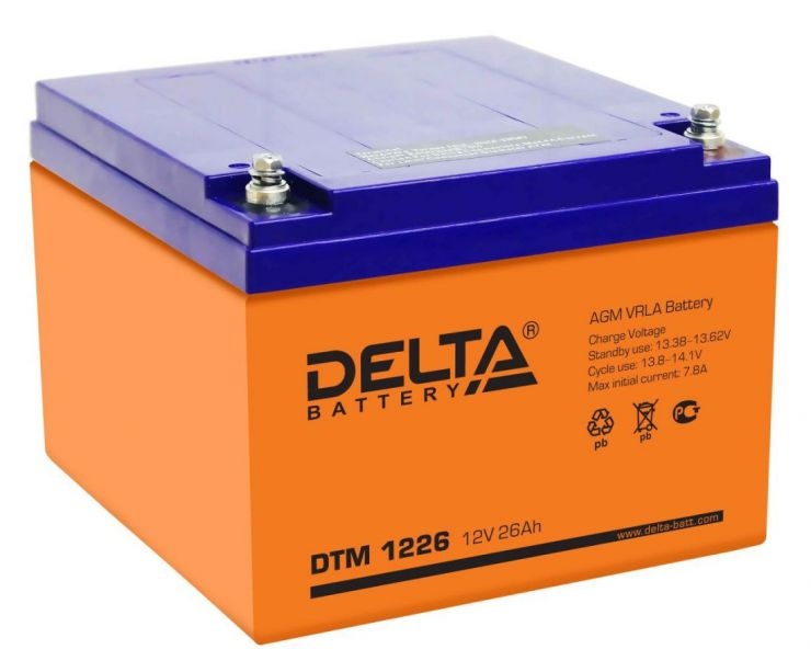 Аккумулятор свинцово-кислотный АКБ DELTA (Дельта) DTM 1226 12 Вольт 26 Ач