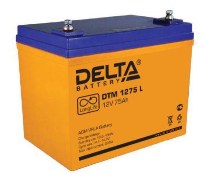 Аккумулятор свинцово-кислотный АКБ DELTA (Дельта) DTM 1275 L 12 Вольт 75 Ач