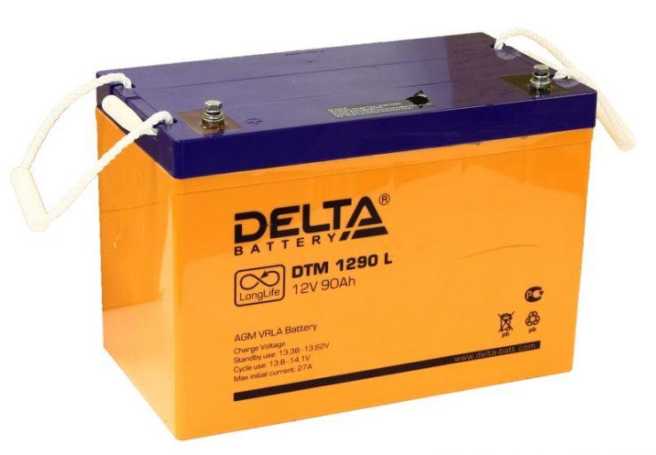 Аккумулятор свинцово-кислотный АКБ DELTA (Дельта) DTM 1290 L 12 Вольт 90 Ач