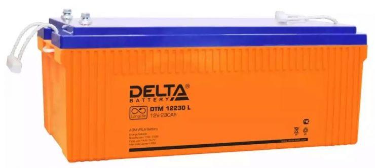 Аккумулятор свинцово-кислотный АКБ DELTA (Дельта) DTM 12230 L 12 Вольт 230 Ач