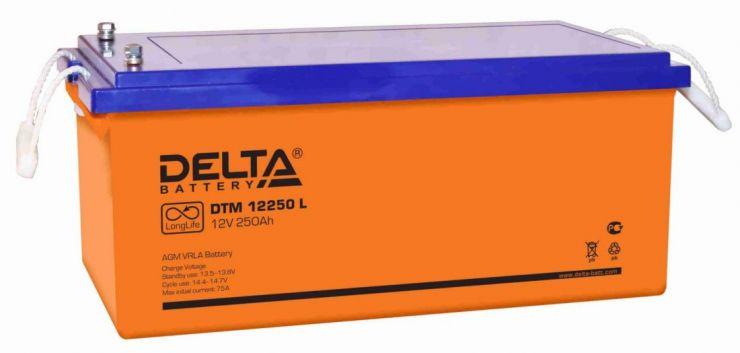 Аккумулятор свинцово-кислотный АКБ DELTA (Дельта) DTM 12250 L 12 Вольт 250 Ач