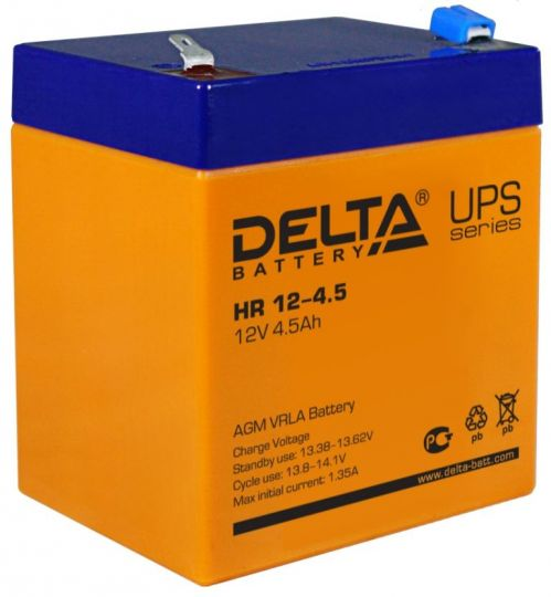 Аккумулятор свинцово-кислотный АКБ DELTA (Дельта) HR 12-4.5 12 Вольт 4.5 Ач
