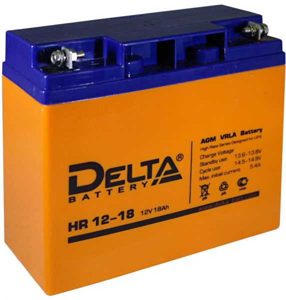 Аккумулятор свинцово-кислотный АКБ DELTA (Дельта) HR 12-18 12 Вольт 18 Ач