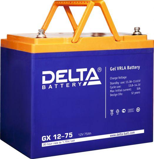 Аккумулятор свинцово-кислотный АКБ DELTA (Дельта) GX 12-75 12 Вольт 75 Ач (Gel)