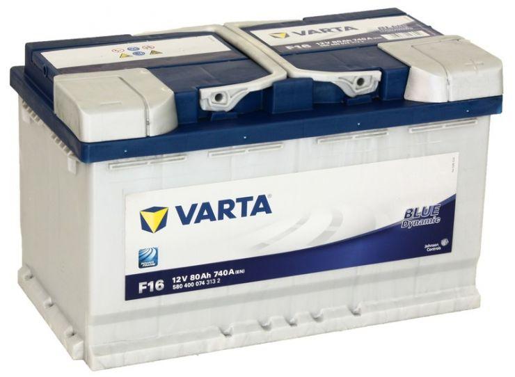 Автомобильный аккумулятор АКБ VARTA (ВАРТА) Blue Dynamic 580 400 074 F16 80Ач о.п.